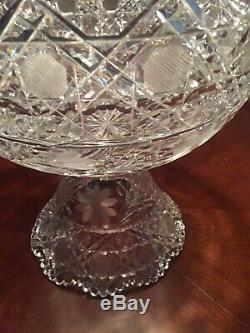 American Brilliant Period Pairpoint Viscaria Cut And Etched Punchbowl Fabulous