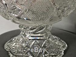 American Brilliant Period blown blank hand Cut & polished Glass punch bowl 2 par