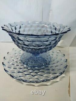 Americana Blue Fostoria Rare 2 Piece Punch Bowl With Plate. Good condition