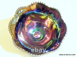 Amethyst GALAXY Carnival Glass Punch Bowl Set L. E. SMITH PUNCH BOWL & 8 CUPS