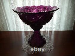 Amethyst pattern glass punch bowl Imperial Whirling Star 4qt pinwheels hobstars