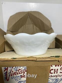 Anchor Hocking GRAPE HARVEST 27 Piece Milk White Punch Bowl Set Vintage in Box