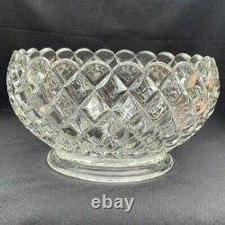 Anchor Hocking Waterford waffle Large Punch Bowl & Large Under Plate Set
