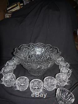 Ant/vtg Imperial Whirling Star Footed Punch Bowl, 12 Cups, & Ladleexquisite