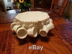 Antique 1950's Fenton Octagonal Punch Bowl Set Milk Glass Hobnail # 3911 Wedding
