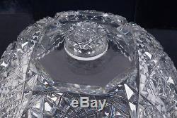 Antique 19c American Brilliant Period Cut Glass Punch Bowl & Pedestal