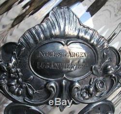 Antique 19c Art Nouveau Silver Punch Bowl Finial Lid Swirl Glass Centerpiece Urn