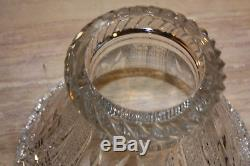 Antique 2 Piece Cut Glass Crystal Punch Bowl (15 tall) By 13 Dia