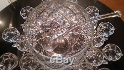 Antique 24 Cup Punch Bowl on Platter with Glass Ladle