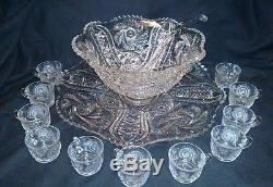 Antique ABP Cut Glass 14 Punch Bowl Set with Ladle 12 Matching Cups Underplate