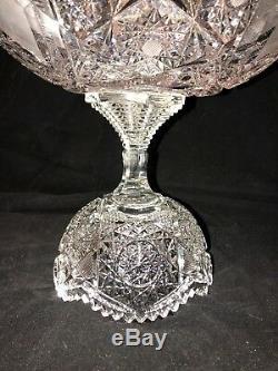 Antique ABP Cut Glass Punch Bowl Base Hobstar Vesica Crosshatching Cane