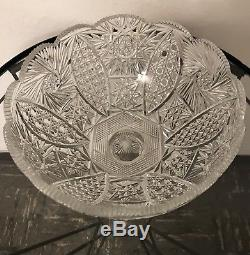 Antique ABP Heavy Thick Large Cut Glass PUNCH BOWL #491