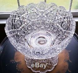 Antique Abp Huge Heavy 12 Etched Pattern Cut Glass Punch Bowl Abp Antique