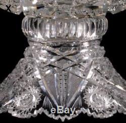 Antique Abp J. Hoare Carolyn Pattern Heavy 12 Two Piece Cut Glass Punch Bowl