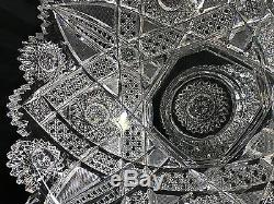 Antique Abp J. Hoare Carolyn Pattern Two Part Heavy Cut Glass 12 1/2 Punch Bowl
