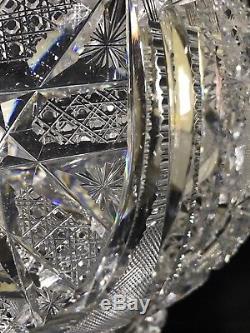 Antique Abp Superior 14.5x15 Pre-signature J. Hoare Or Elmira Glass Punch Bowl
