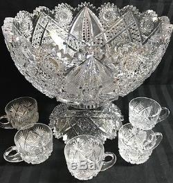 Antique Abp Superior Thick Heavy J. Hoare Carolyn Pattern Cut Glass Punch Bowl