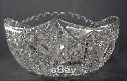 Antique Amercan Brilliant APB Period Crystal Saw Cut Glass Punch Bowl
