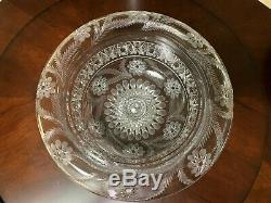 Antique American Brilliant Cut Engraved Glass Bishop Hat Fry Punch Bowl Pershing