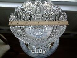 Antique American Brilliant Cut Glass 2 Piece Punch Bowl J. Hoare & Co 1911