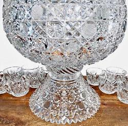 Antique American Brilliant Cut Glass Harvard Punch Bowl with Base & 11 Cups 12
