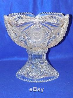 Antique American Brilliant Cut Glass Punch Bowl 14 Tall 14 Dia