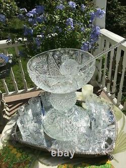 Antique American Brilliant Cut Glass Punch Bowl on Pedestal with Ladle & 14 Cups