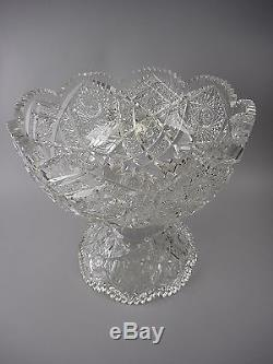 Antique American Brilliant Period 1/2 Thick Cut Crystal Punch Bowl&Stand 25lbs
