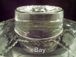 Antique American Brilliant Period Punchbowl with Stand, Intaglio Daisy, Vine