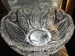Antique American Brilliant Period Signed J. Hoare Newport Cut Glass Punch Bowl