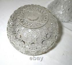 Antique American brilliant cut etched crystal 2 piece centerpiece punch bowl