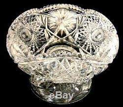 Antique Brilliant Cut Glass Crystal Pedestal Fruit Egg Nog Punch Bowl Hobstars
