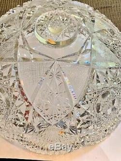 Antique Brilliant Cut Glass Crystal Punch Bowl, Pedestal Stand, flaws, CLEARANCE