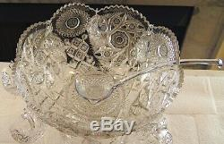 Antique Crystal Cut Glass Punch Bowl & HEISEY Stand With 7 Cups & Crystal Ladle