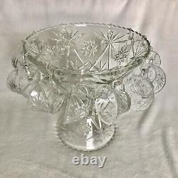 Antique Crystal Punch Bowl Set Includes Base And 12 Glasses