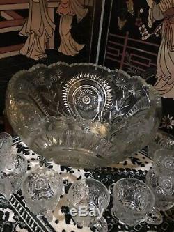 Antique Cut Crystal Punch Bowl Pinwheel & Stars & 8 matching Glasses