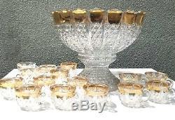 Antique Duncan Miller Glass Punch Bowl & 15 Cups Vintage Gold Trim EXCELLENT