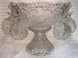 Antique EAPG 1910 Imperial Glass Clear Broken Arches Punch Bowl Stand Set 6 Cups