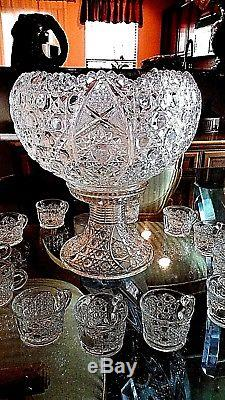 Antique EAPG ROTEC CANE & STAR Punch Bowl & Base. 12 cups MCKEE GLASS CO 1910