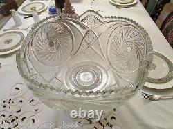 Antique EAPG punch bowl with stand hobstars pattern