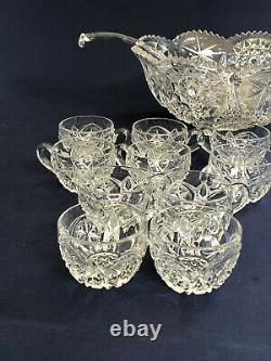 Antique Edwardian McKee Glass Co. Clear pressed glass punch set YUTEC c. 1909