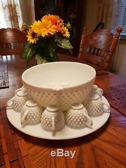 Antique Fenton Punch Bowl Set Milk Glass Hobnail Glass Lad / Torte Plate 13 Cups