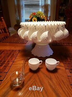 Antique Fenton Punch Bowl Set Milk Glass Hobnail with Glass Ladle 15 Cups Wedding