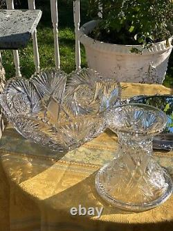 Antique Glass Punch Bowl onPedestal /Silver Plate Ladle 12 Etched Cups AH. Heisey