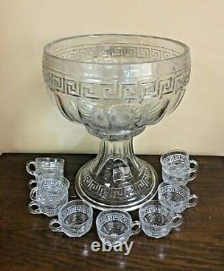 Antique HEISEY Glass Greek Key Punch Bowl Set with 10 Cups
