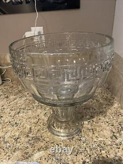 Antique Heisey Glass Greek Key Punch Bowl with Stand