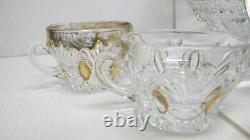 Antique Heisey Prince of Wales 14-1/2 x 7 Punch Bowl & 8 CupsGold Trim1900's