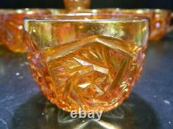 Antique Imperial (14) Piece Swirling Star Carnival Glass Punch Bowl Set Excell