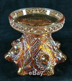 Antique Imperial Carnival Glass Punch Bowl Set In Marigold Royalty Pattern VFINE