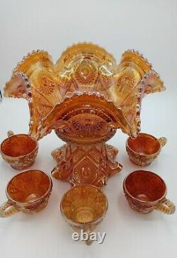 Antique Imperial Fashion Punch Bowl and Cups Carnival Glass Marigold